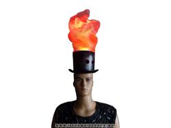 Реквизит для шоу - огненная шляпа с имитацией пламени - Альфери Эффект